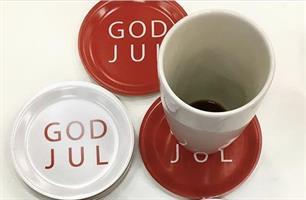 Glasunderlägg kant, God Jul, vit/röd text