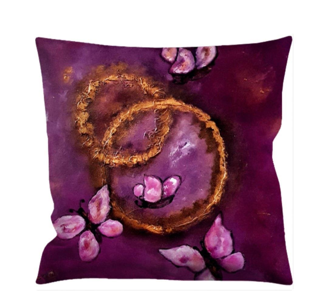 Kuddfodral Love -fjäril, rosa