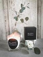 Doftljus, Happy birthday, svart/vit text