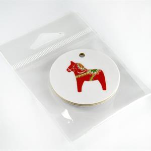 Nyckelring, Dala horse, vit/rött tryck