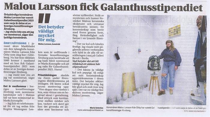 Konstnären Malou Larsson fick Galanthusstipendiet 2021