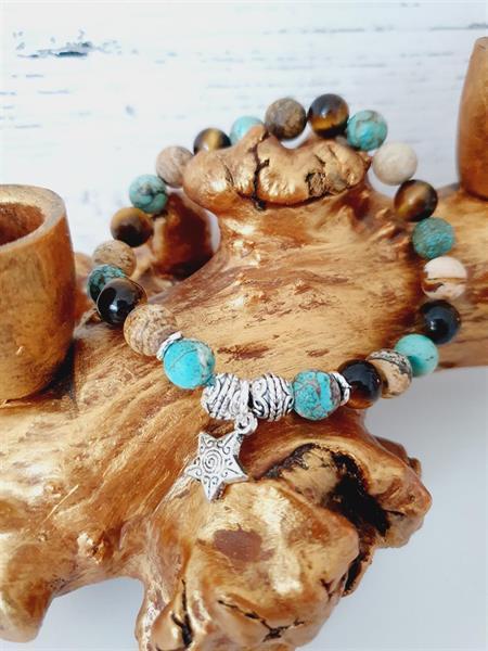 Armband pärlor vintage -Turkos sten