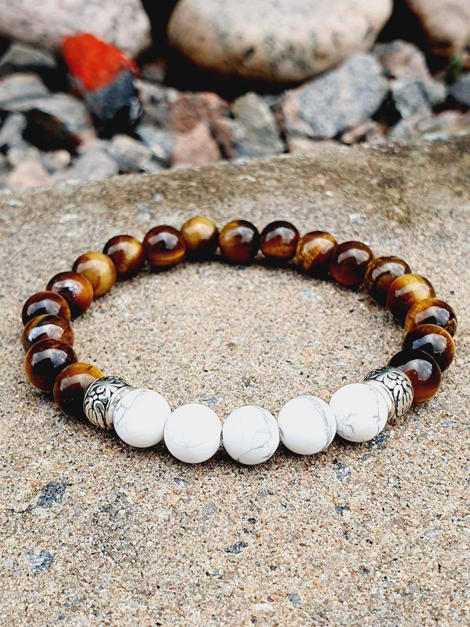 Herr smycke armband med tigeröga och howlite