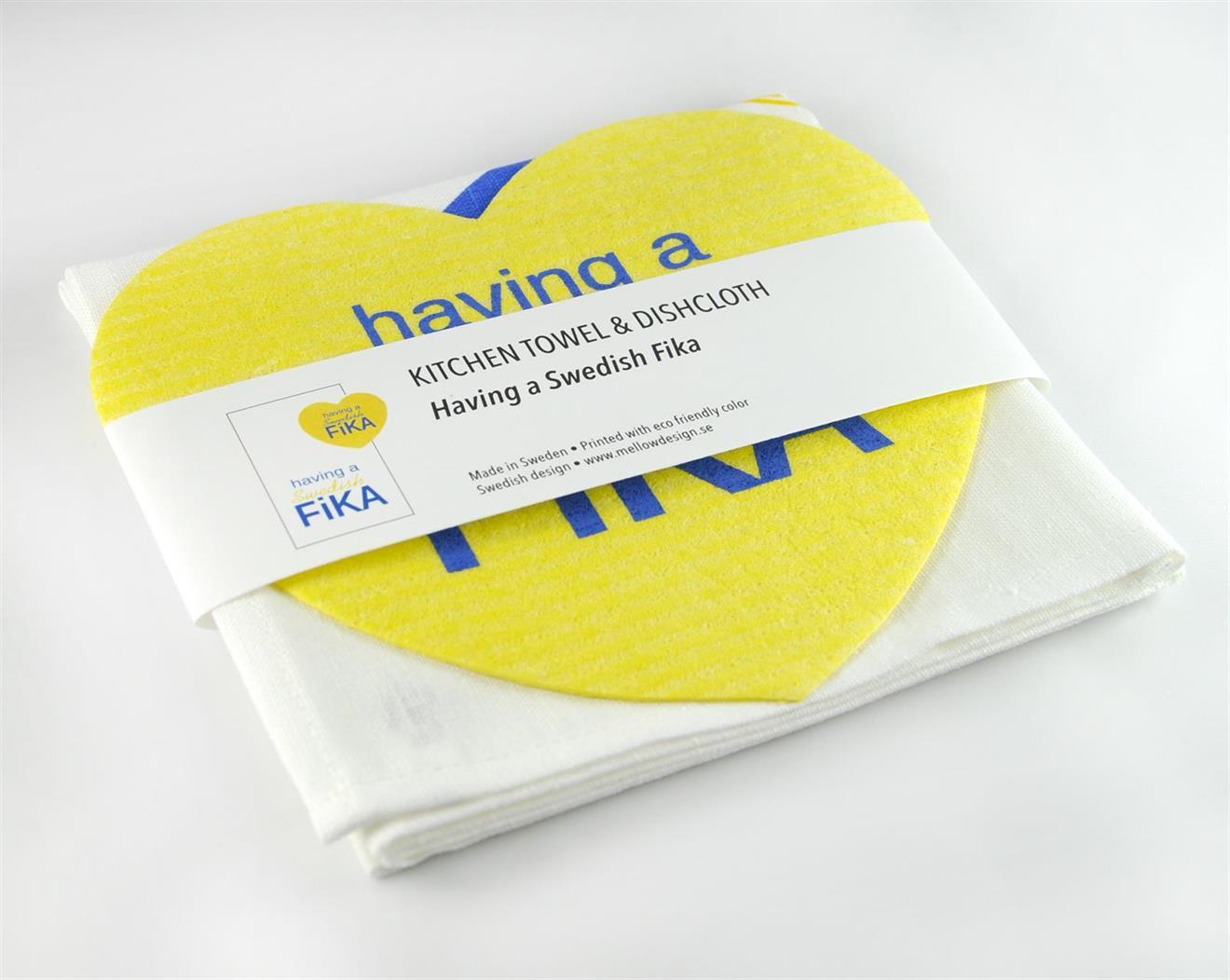 Set, trasa/handduk, Swedish Fika, vit/blå-gul text