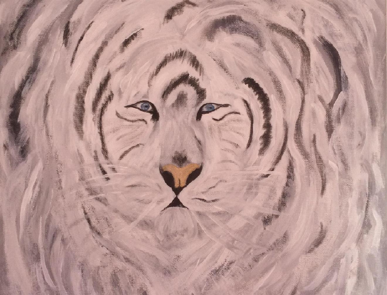 Originalkonst,Vit tiger 40x40 cm
