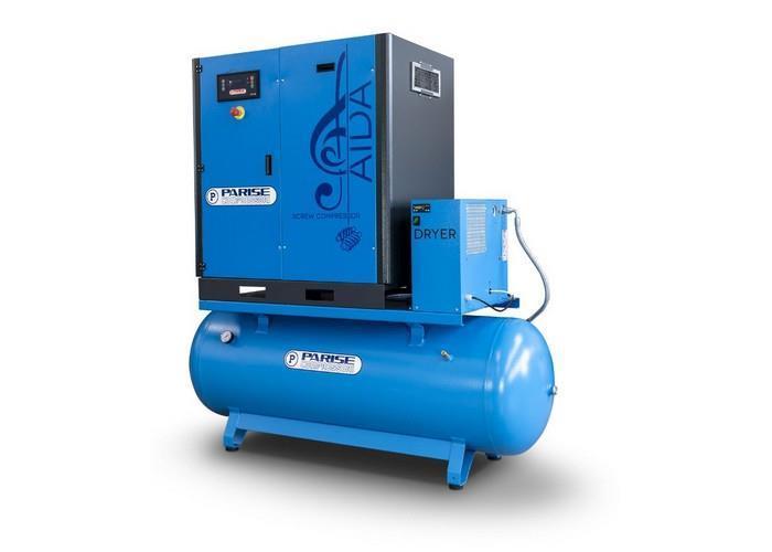 PARISE Ruuvikompressori 15 Kw, 2050L/min, 10bar, säiliöllä ja kuivaimella MLA20S270-D-10