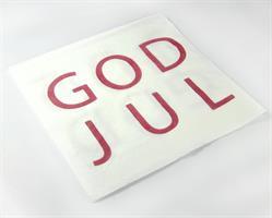 Servetter, God Jul, vit/röd text, 20-p