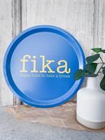 Bricka rund 31 cm, Make time FIKA, blå/gul text