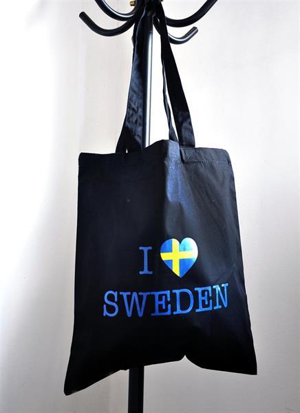 Tygkasse, I love Sweden, svart/blå-gul text
