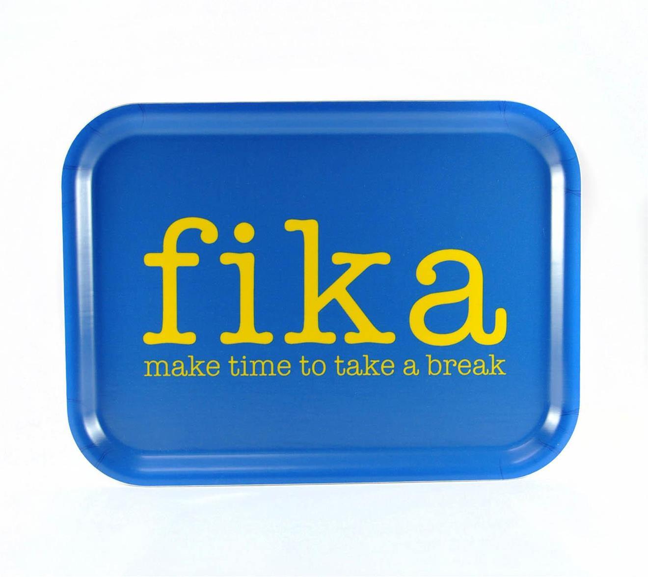 Bricka 27x20 cm, Make time FIKA, blå/gul text