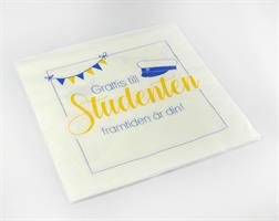 Servetter, Studenten, vit/blå-gul text, 20-p