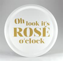 Bricka rund 31 cm, Rose o clock, vit/guldtext