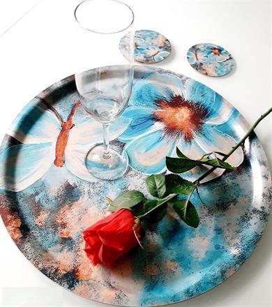 Rund bricka och glasunderlägg -blommor