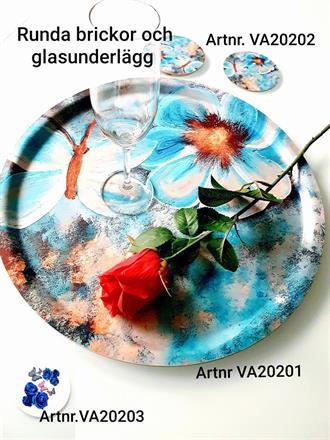 Bricka och glasunderlägg blommor