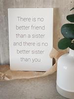 Trätavla A4, Sisters, vit/svart text