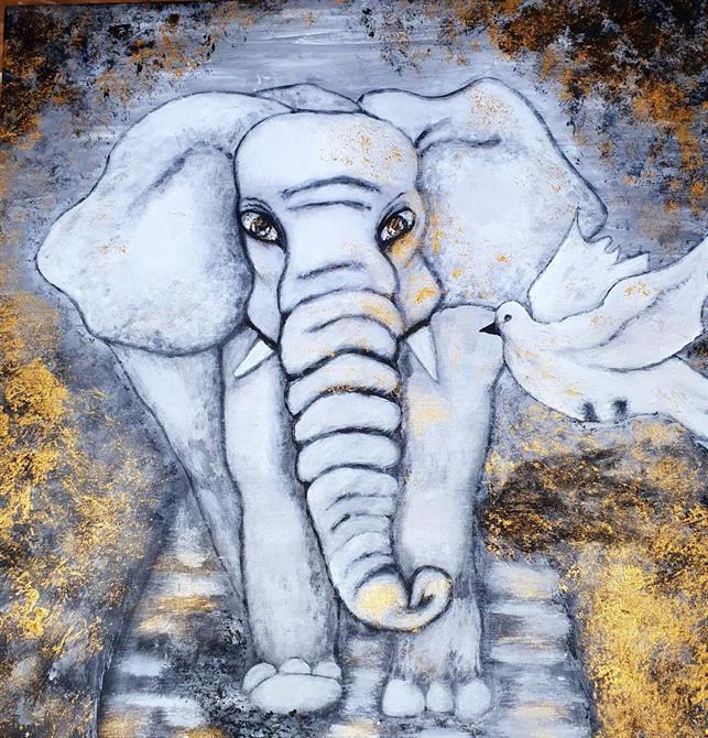 Originalkonst-Elefant -Trust , 60*60 cm