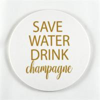 Glasunderlägg 4-p, Save water, vit/guldtext