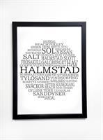Poster 30x40 cm i ram, Halmstad, vit/svart text