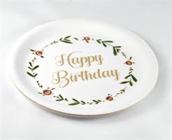 Glasunderlägg kant, Happy birthday, vit/blomkrans