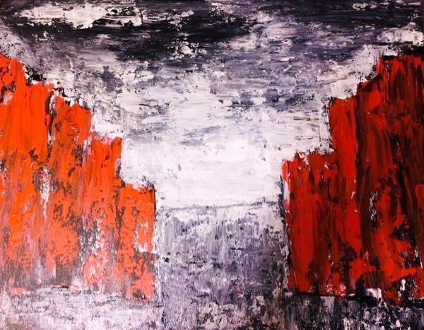 Abstrakt konst -Somewhere 46*38 cm.