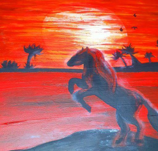 Canvastavla djur-Sunset 60x60 cm