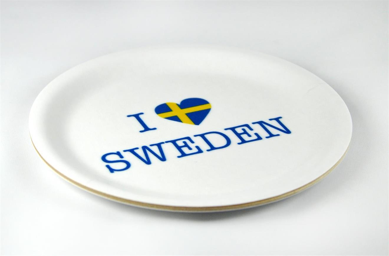 Glasunderlägg kant, I love Sweden,vit/blå-gul text