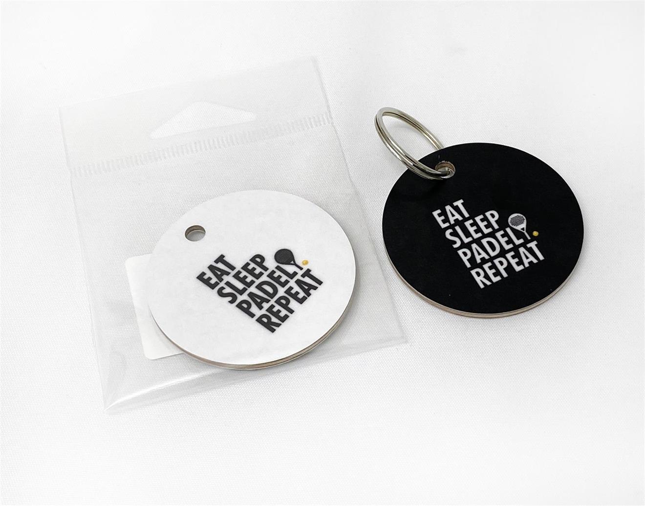 Nyckelring, Padel repeat, svart/vit text