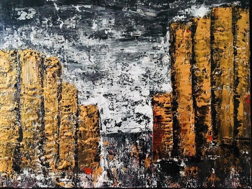 Orignalkonst ,Somewhere 3, 46x38 cm ,guld