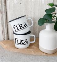 Emaljmugg, Make time Fika, vit/svart text
