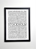 Poster 30x40 cm i ram, Stockholm, vit/svart text