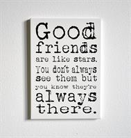Trätavla A4, Good friends, vit/svart text