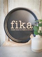 Bricka rund 31 cm, Make time FIKA, svart/guldtext