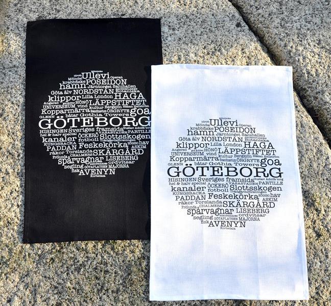 Kökshandduk, Göteborg, vit/svart text