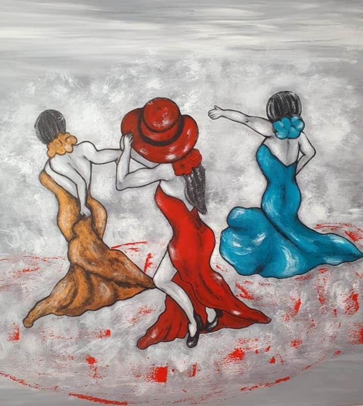 Originalkonst -Let`s dance 80x80 cm