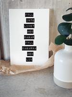 Trätavla A4, Fyll inte livet, vit/svart text