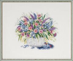 Tavla blå lila blommor linne