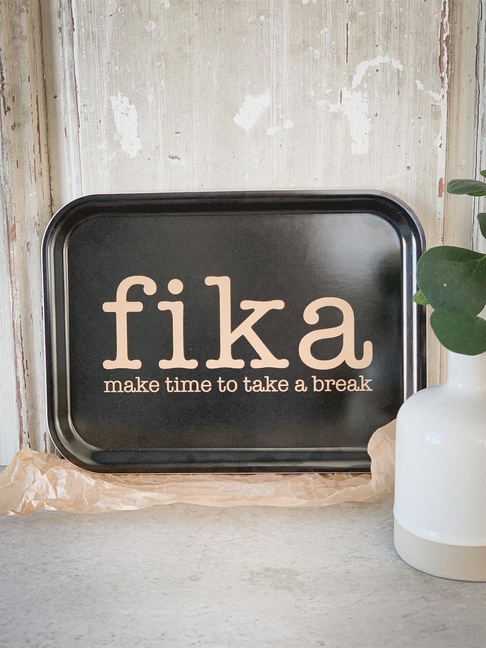 Bricka 27x20 cm, Make time FIKA, svart/guldtext