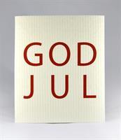Disktrasa, God Jul, vit/röd text