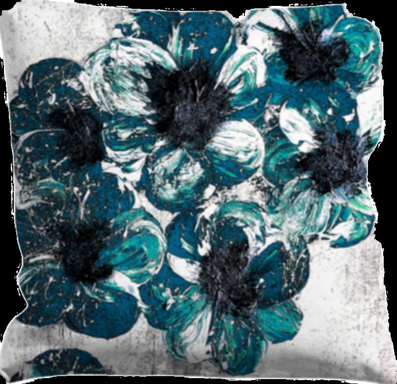 Kuddfodral gröna/turkos blommor