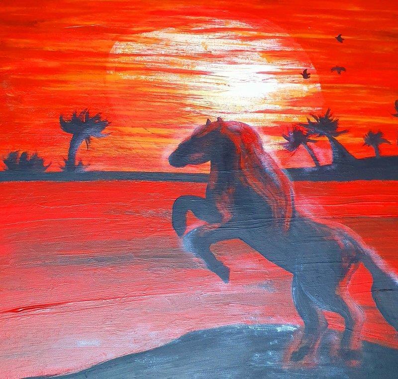 Originalkonst,Sunset 60x60 cm