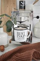 Emaljmugg, Best Dad, vit/svart text