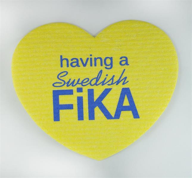 Disktrasa-hjärta, Swedish fika, gul/blå text