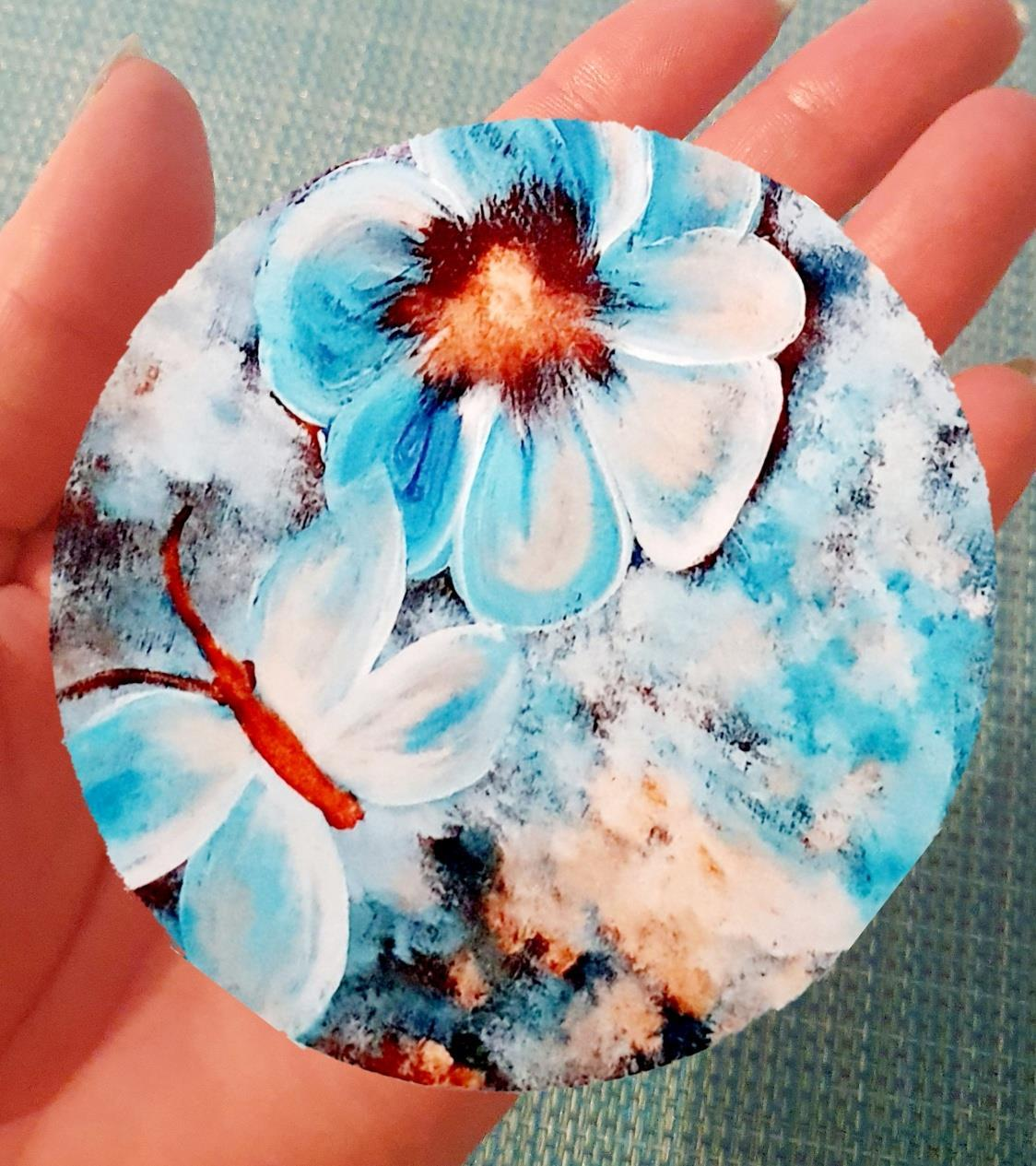 Glasunderlägg blommor och fjäril 9 cm