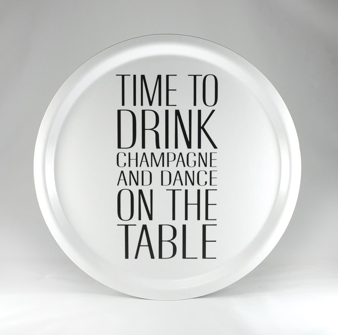 Bricka rund 31 cm, Time to drink, vit/svart text