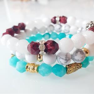 Pärlarmband dam turquoise och uggla