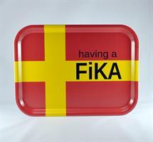 Bricka 27x20 cm, Having a Fika, skånska flaggan