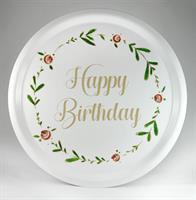 Bricka rund 31 cm, Happy birthday, vit/blomkrans
