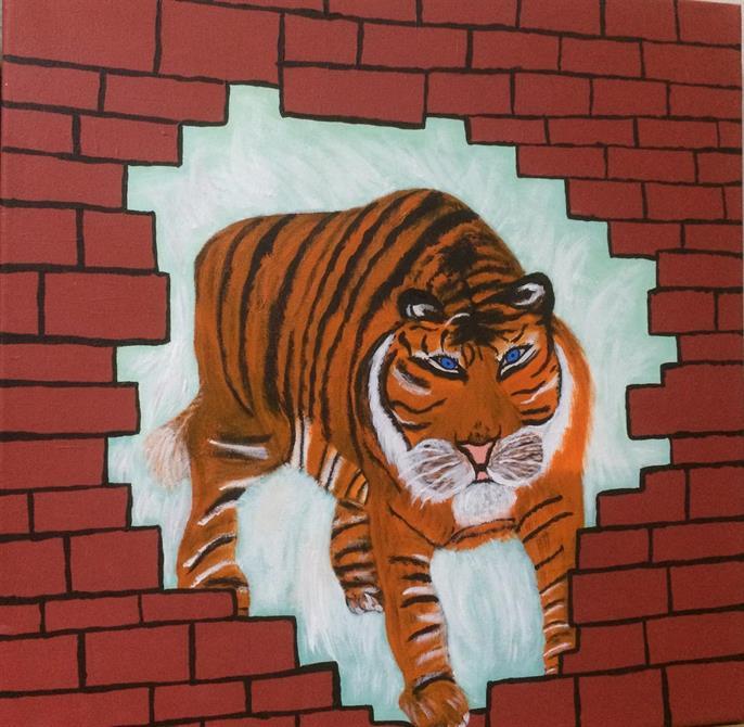 Tavla djur-Tiger 40*40 cm.