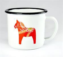 Emaljmugg, Dala horse, vit med rött tryck