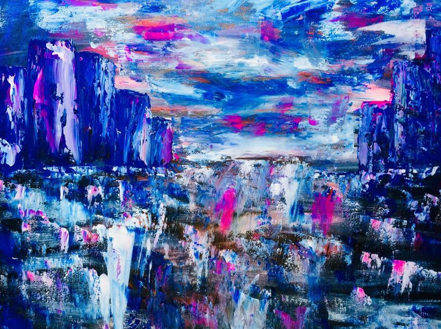 Abstrakt konst -Somewhere 70 x 60 cm